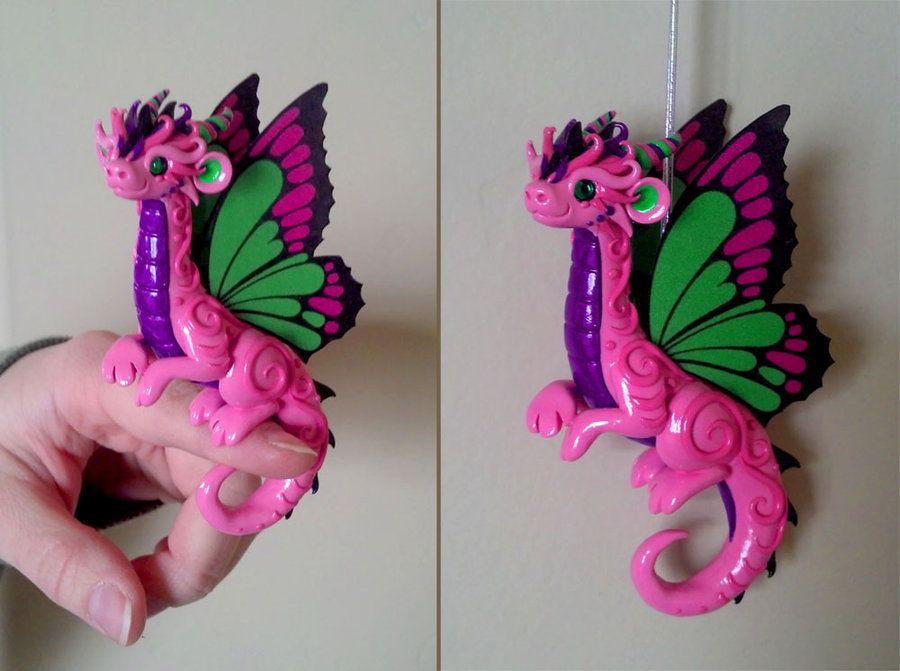 Pink Butterfly Dragon by DragonsAndBeasties.deviantart.com on @deviantART