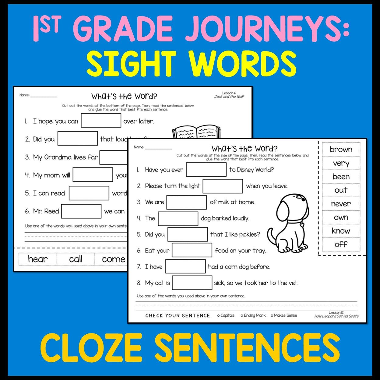 Cloze Sentences for 1st Grade Journeys Sight Words   Sight words [ 1248 x 1248 Pixel ]