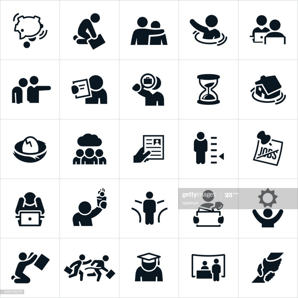 An Icon Set Of Unemployment Related Concepts The Concepts Include Icon Illustration Photoshop Photos Icon