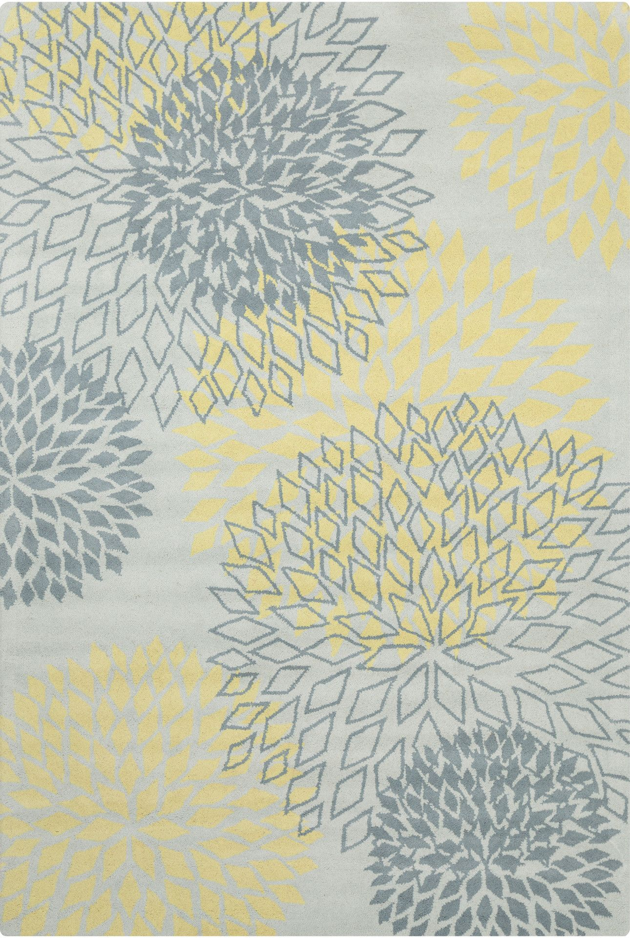Stella Collection Hand Tufted Area Rug In Grey U0026 Yellow Design By Chan