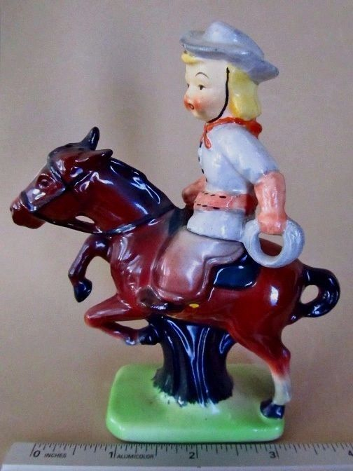 COWGIRL & JUMPING HORSE * 2 Pc Salt and Pepper Shakers * MIJ 1921-41 *VERY RARE  | eBay