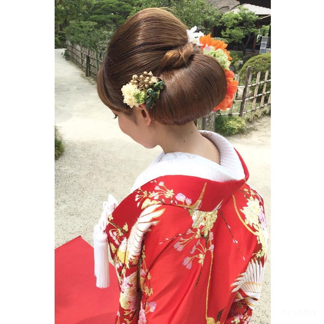 2018年版 和装ヘア 白無垢 色打掛に合った洋髪まとめ 結婚式準備はウェディングニュース 色打掛 髪型 花嫁 ブライダル