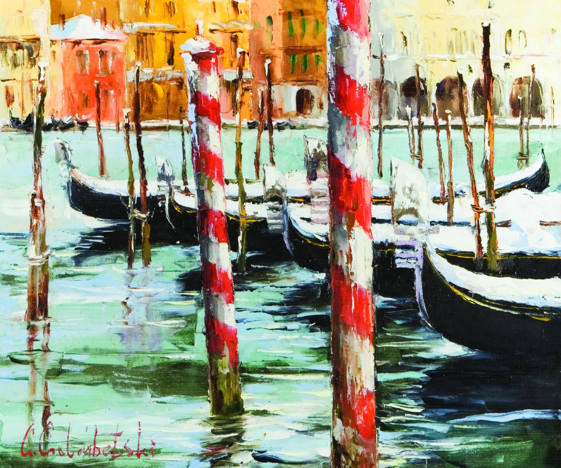 'Canal Grand in Winter' by Gleb Goloubetski, Oil on Canvas 50cmx60cm