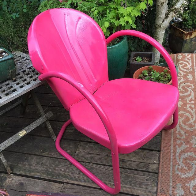 Image Of Mid Century Pink Metal Patio Chair