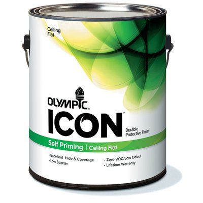 Olympic Icon Self Priming White Ceiling Paint Painting Wall Covering Supplies Paint