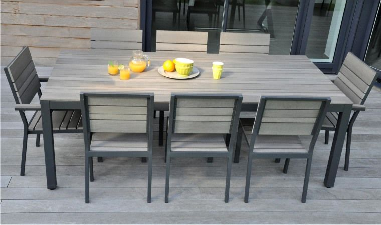 SALON DE JARDIN 8 PLACES ALU BOIS COMPOSITE BROOKLYN | Hamac ...