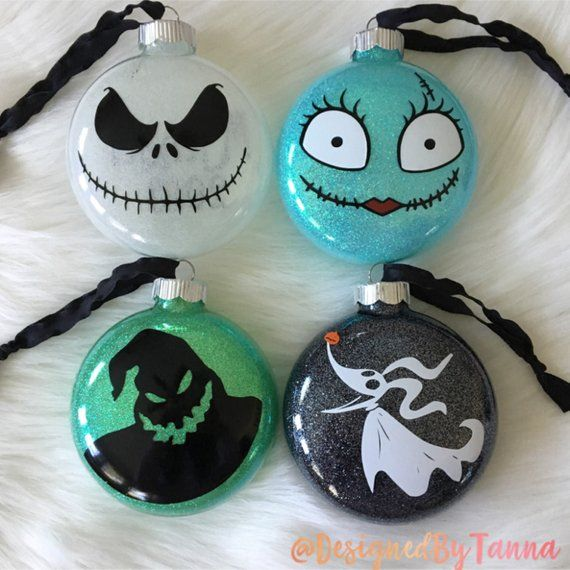Nightmare Before Christmas Inspired Christmas Ornaments Set Oog Nightmare Before Christmas Ornaments Nightmare Before Christmas Tree Disney Christmas Ornaments