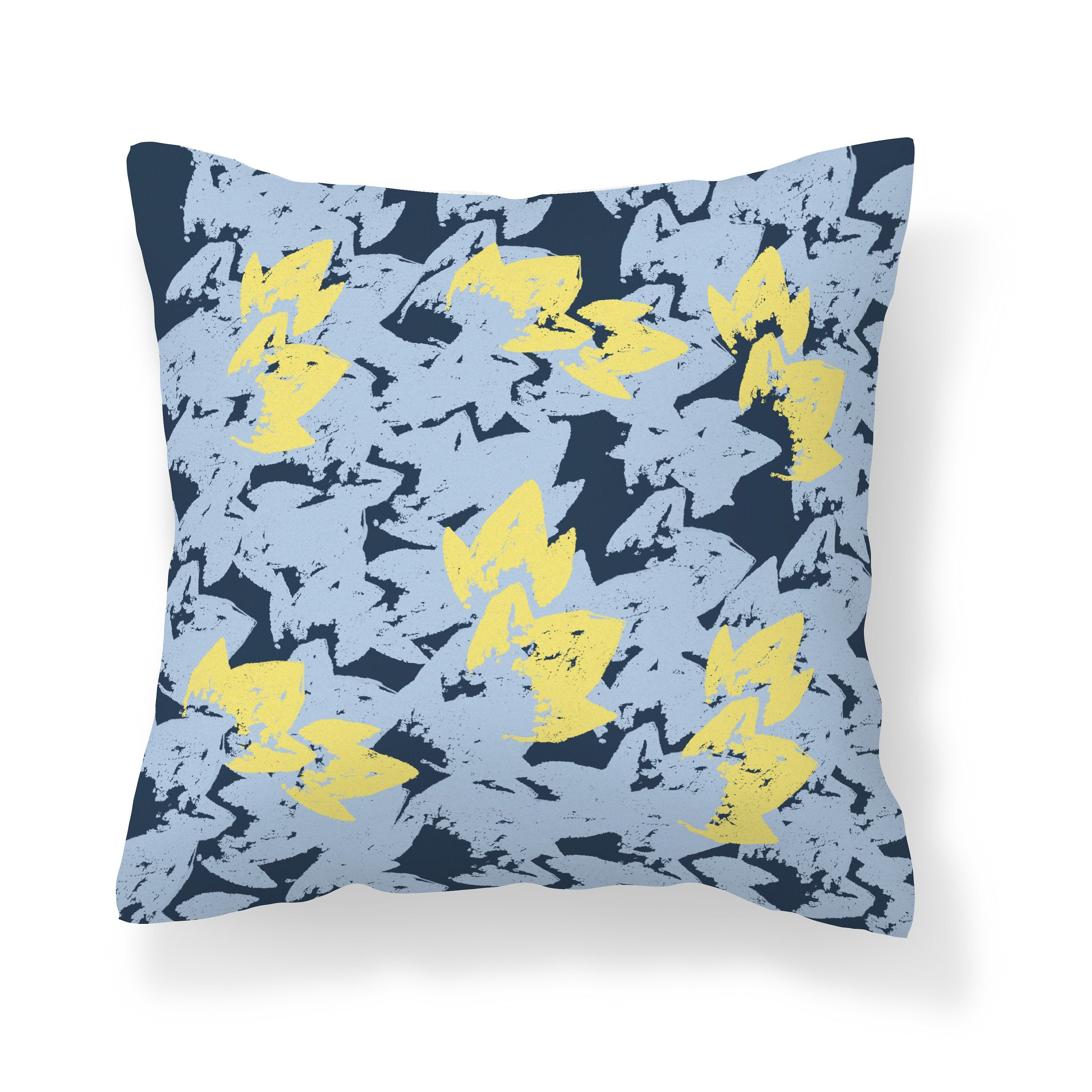 Blue Yellow Throw Pillow Cover Abstract Pillow Navy Light Etsy In 2020 Yellow Throw Pillows Yellow Throw Pillow Covers Throw Pillows