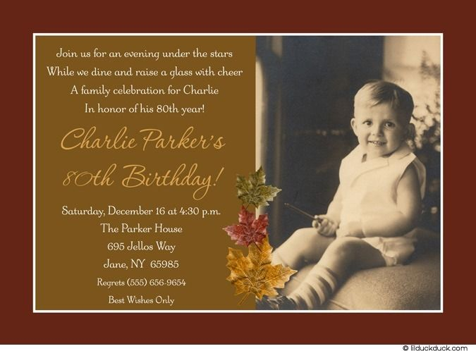 autumn leaves 80th birthday invitation | 80th birthday invitations, Birthday invitations