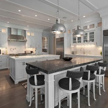 White Kitchen Island With Black Marble Countertop Transitional Kitchen Blue Water Home Builders White Kitchen Island Double Island Kitchen Kitchen