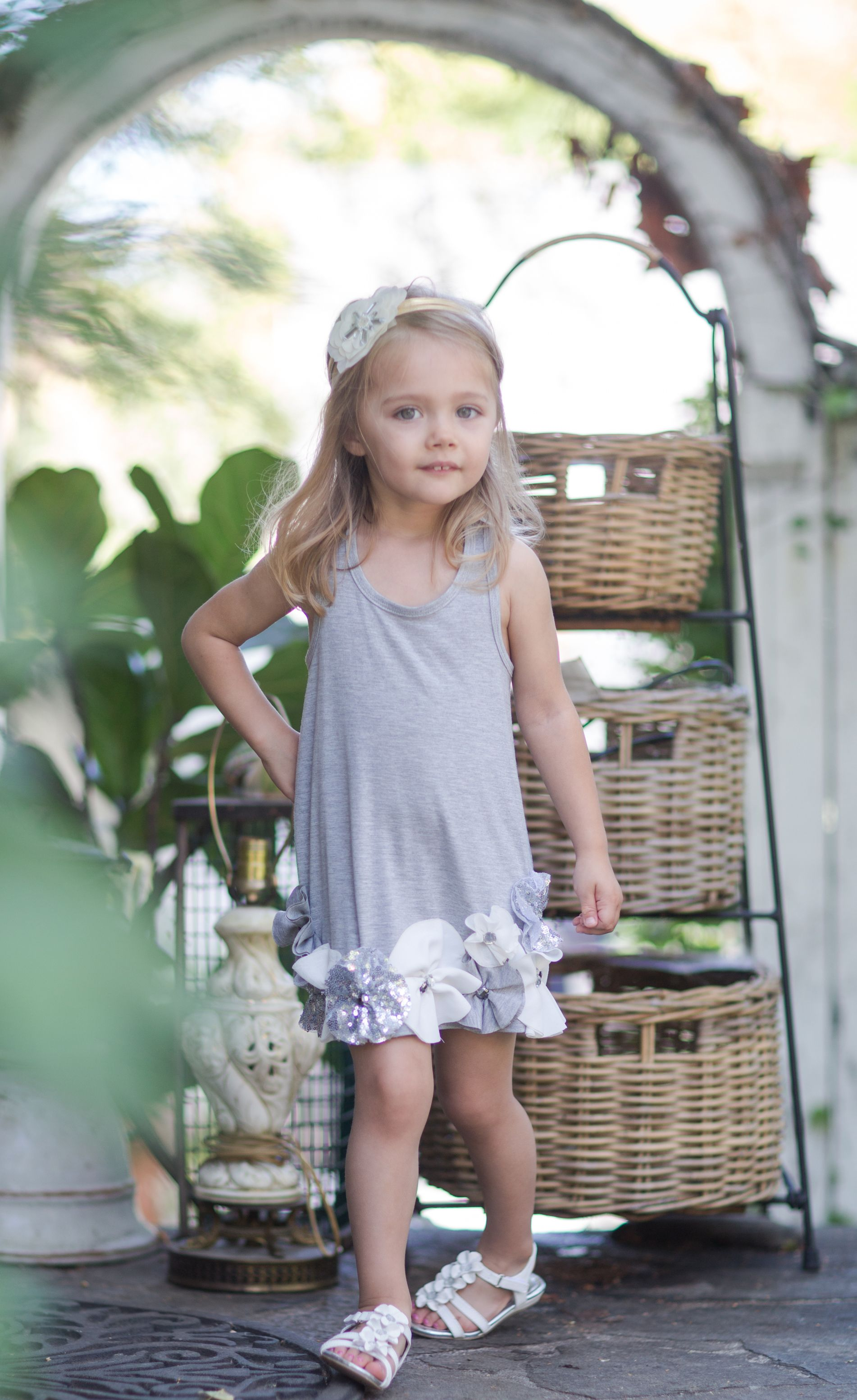 All mini in grey with fun details Dress Baby sara