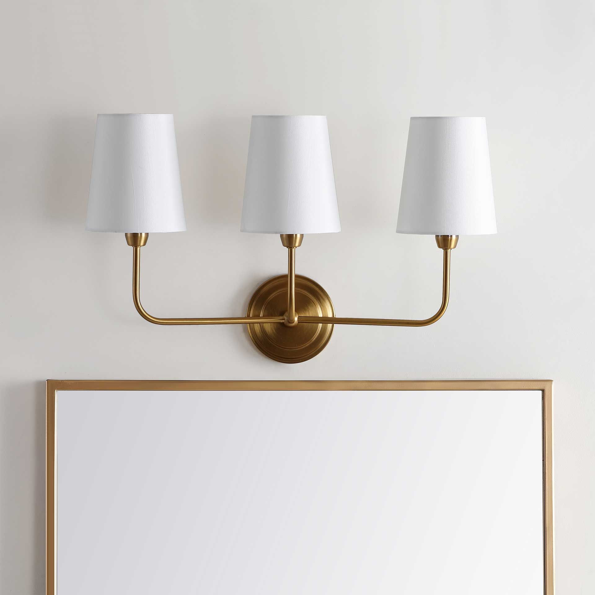 Saga Three Light Wall Sconce Brass Gold In 2021 Wall Lights Wall Sconces Wall Sconce Lighting