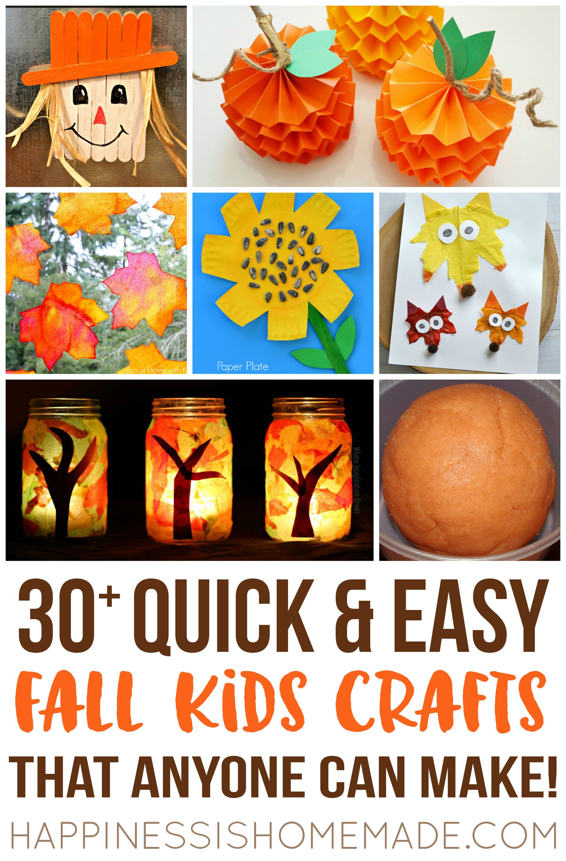 Easy Fall Kids Crafts That Anyone Can Make: Make These Quick & Easy Fall Kids Crafts In Under 30