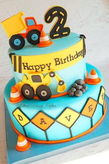 2nd Birthday Cake Boy Truck Themes Digger