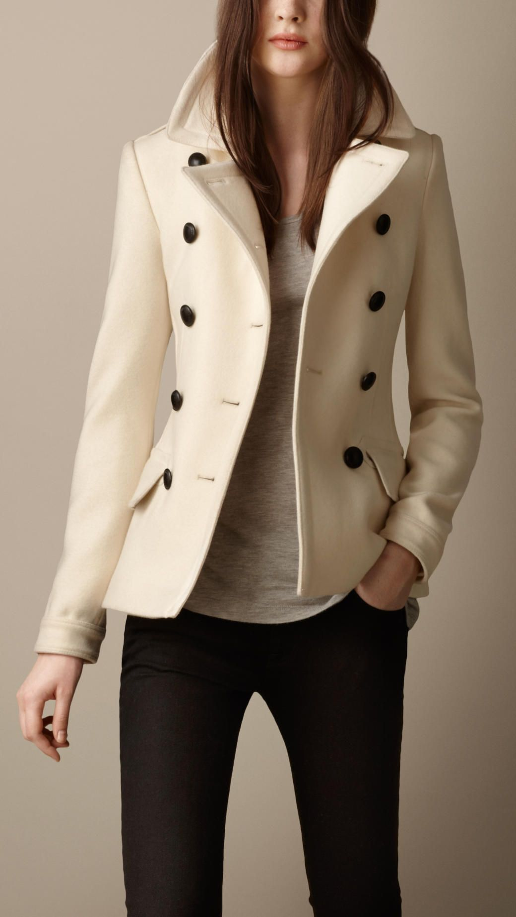 Burberry Wool Cashmere Pea Coat in Beige (natural white) | Lyst ...