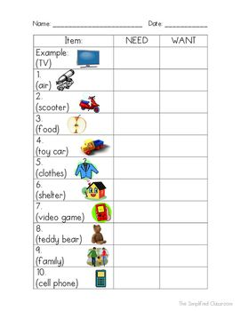 Needs Vs Wants Color In Worksheet And Anchor Chart Template With