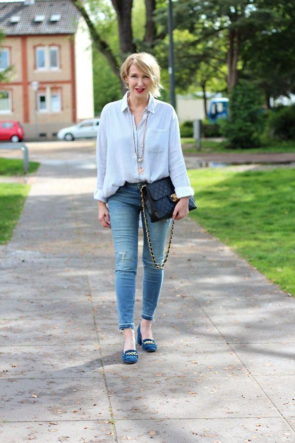 84fb1973fffd gestreifte Bluse, Slipper like Gucci, Skinny Jeans, Kaufverhalten, Chanel  Vintage Tasche, Ü40Blog, Ü40Mode