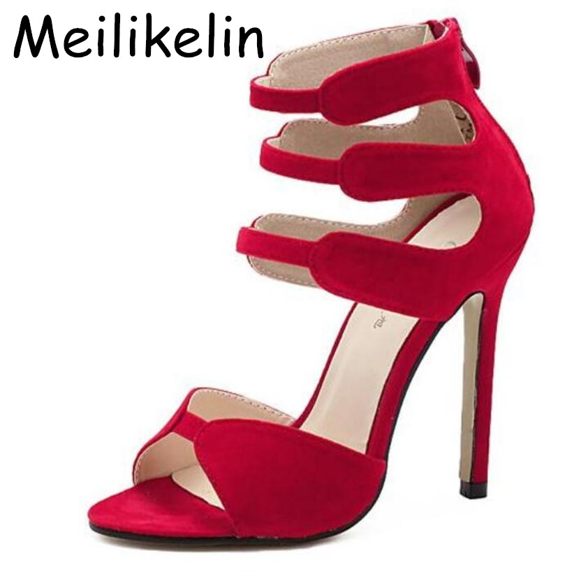 17.28$  Buy now - http://alietx.shopchina.info/go.php?t=32722712141 - Brand New Gladiator High Heels Sandals Women Sexy Open Toe Cut Outs Woman Shoes Zipper Wedding Party Stiletto Pumps Shoes 17.28$ #SHOPPING