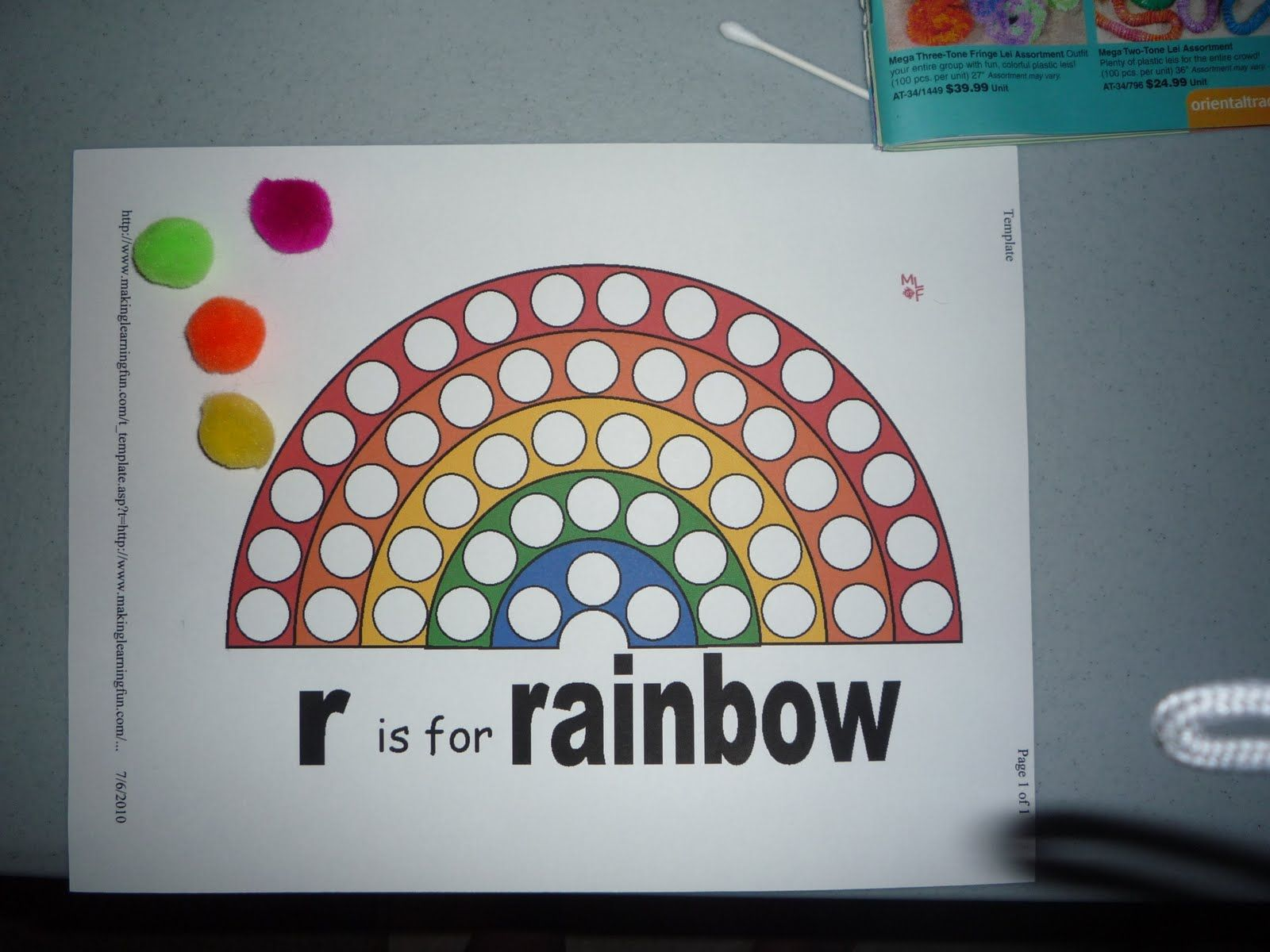 Rainbow Pom Pom Color Matching Game Put Magnets On The