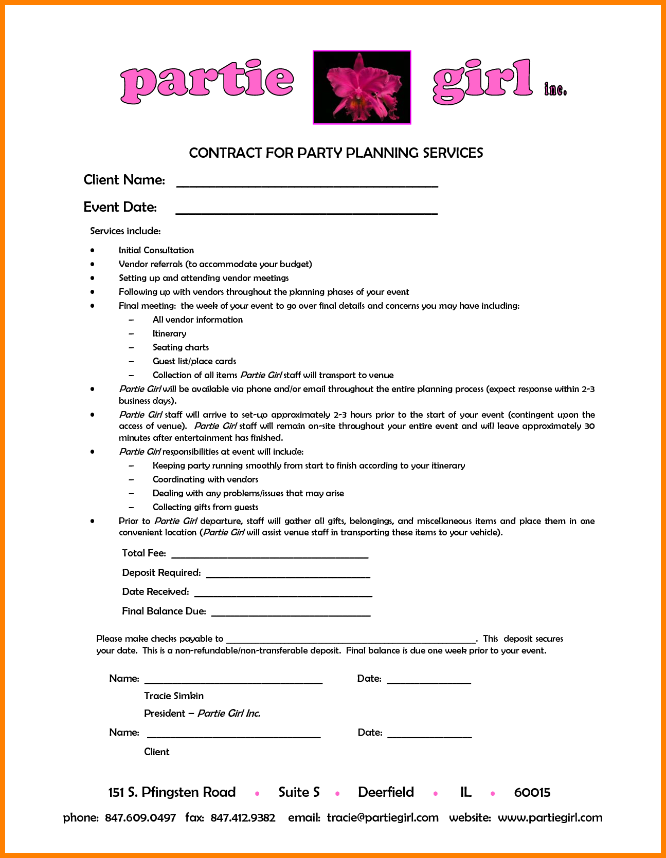 8 event planner contract template attorney letterheads