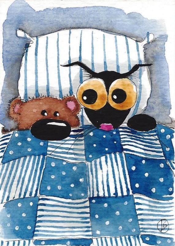 ACEO Original watercolor Stressie Cat painting Lucia Stewart snuggle up teddy #IllustrationArt