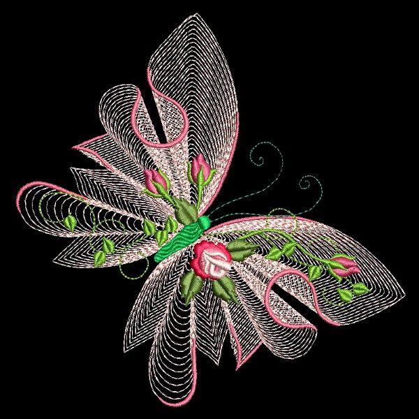 Flutterby Luv # 1 - 30 Projetos de bordado de máquina (azeb)