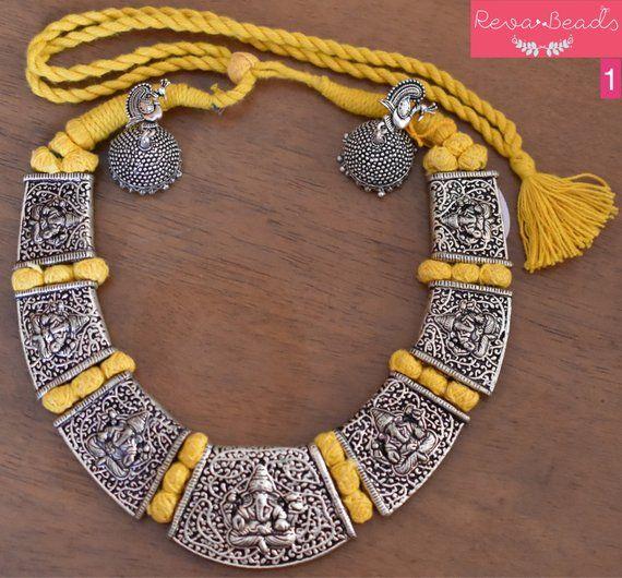 6b18f471e 6 options, Choker, Hansuli, Antique silver tone, necklace earring sets, cotton  beads, adjustable dor