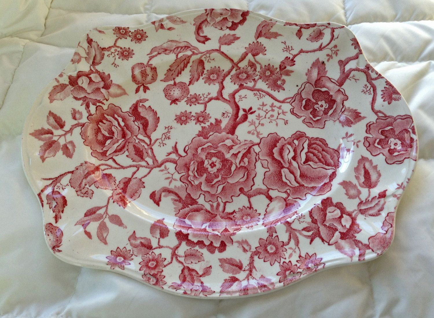 Johnson Bros Chippendale Oval Platter Red Pink Transferware Mint English China Red Transfer Ware by KathyKupboard on Etsy