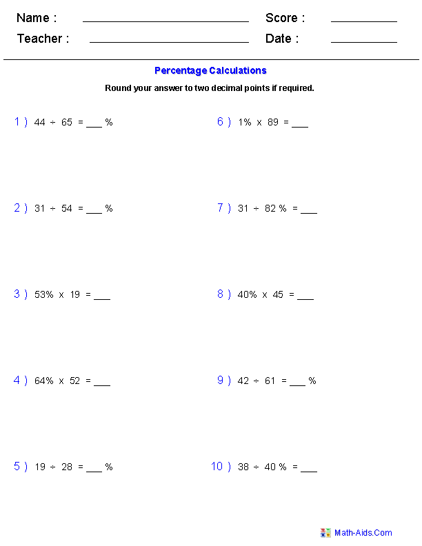 Percent of Change Worksheets MathAidsCom – Percent of Change Worksheet