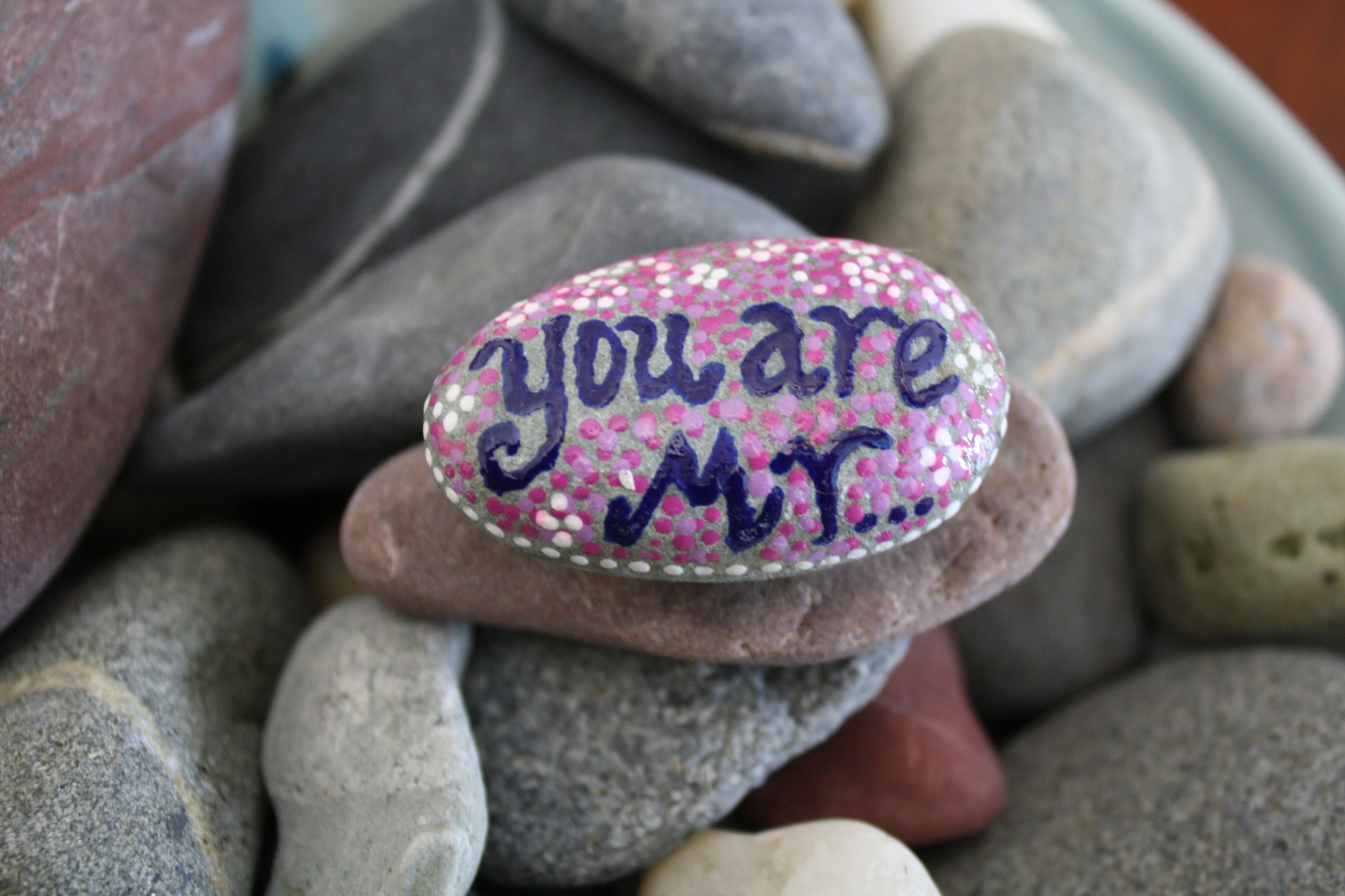 "Painted and glazed beach rock - ""You are my rock"""