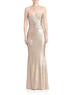 47c8fa7a Marchesa Notte - Strapless Sequined Long Gown   Style: Gowns ...