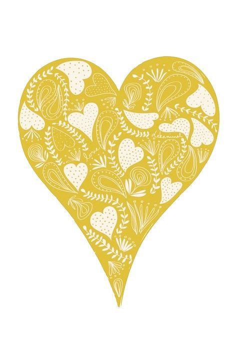 Hong Kong Map Personalized Custom Color Watercolor Style Love Map Wedding Heart Illustration Yellow Heart Heart Wall Art