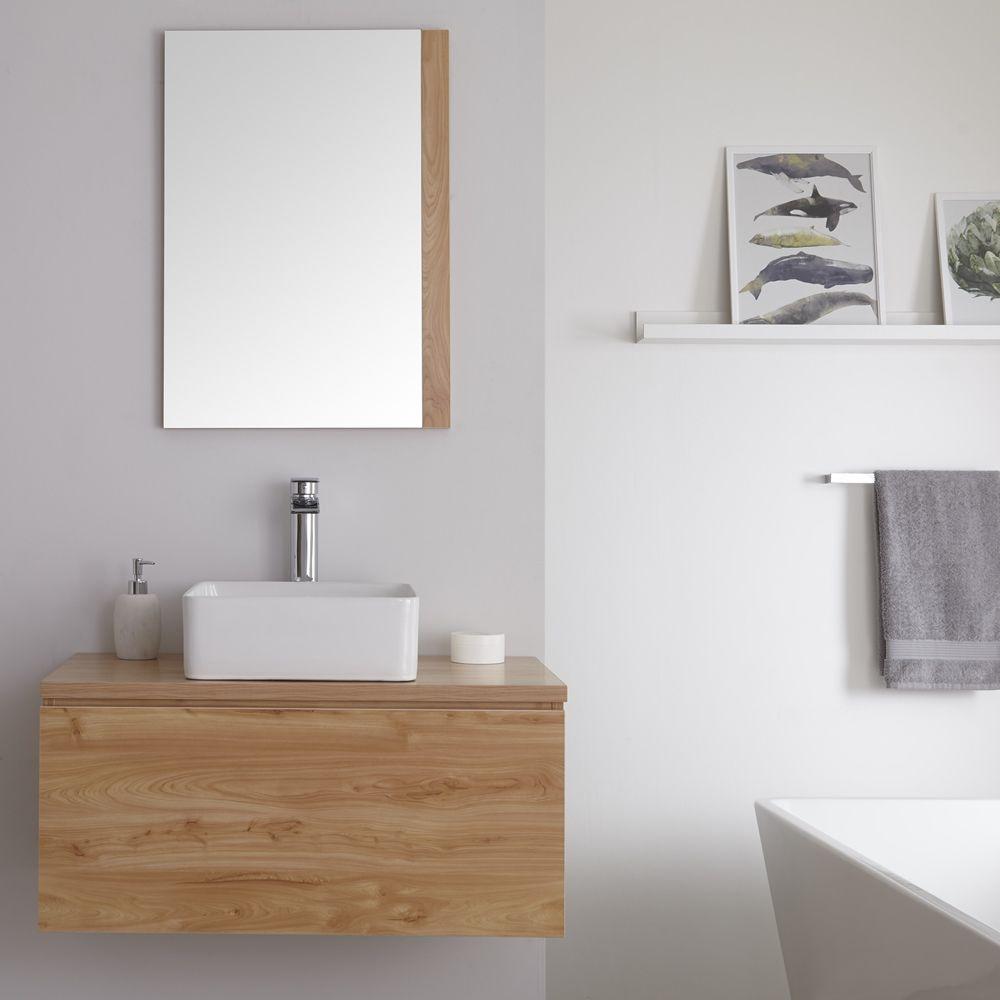 Milano Oxley Golden Oak 800mm Wall Hung Vanity Unit With Countertop Basin Countertop Basin Wall Hung Vanity Vanity Units