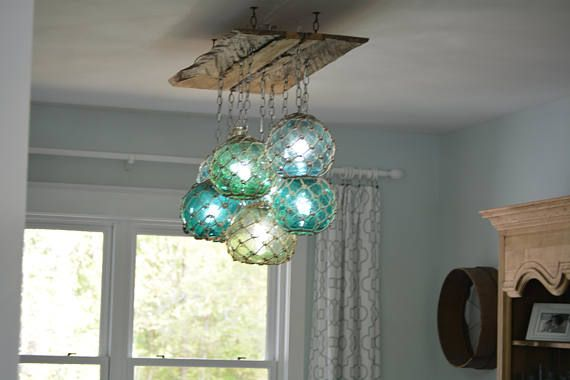 Custom Order Light Fixture We Make One Of A Kind Vintage Gl Float Chandeliers The Hand N Floats With Tied Netting Are