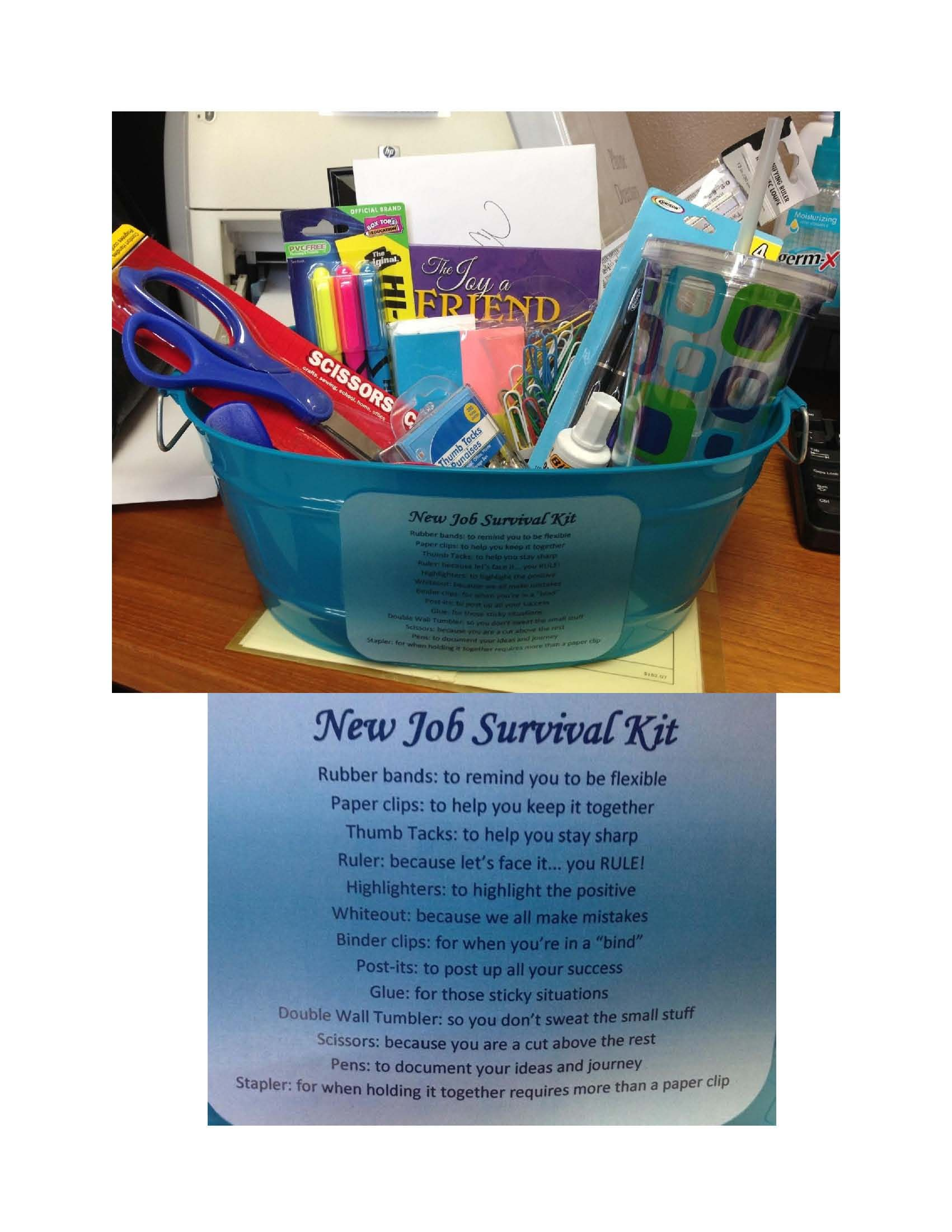 Farewell Ideas For Coworkers - New job survival kit i made as a gift for a coworker