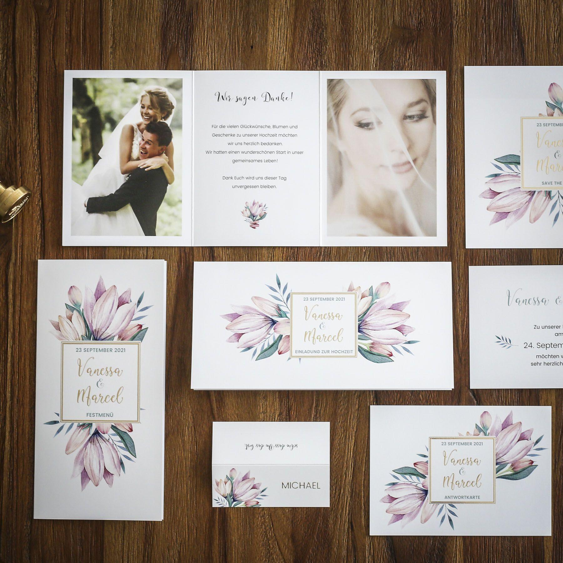 Blumengold Florale Hochzeitspapeterie Mit Heissfolienpragung