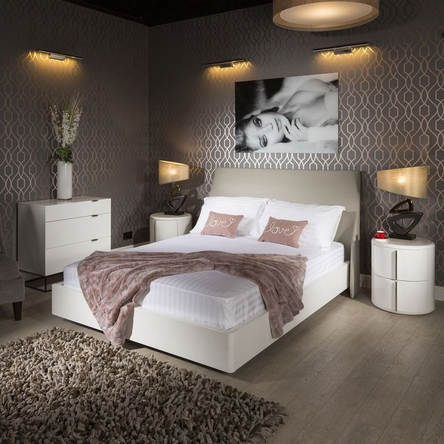 Quatropi Stunning King Size White Gloss Bed Frame Grey