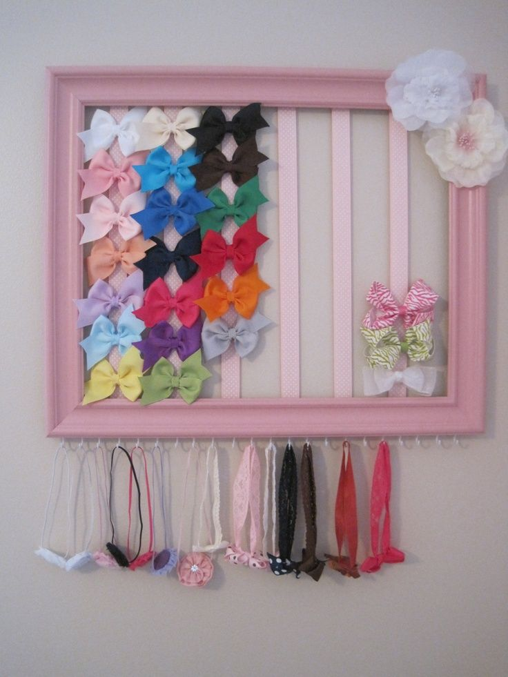 Headband Bow Holder Out Of Painted Picture Frame Ribbon