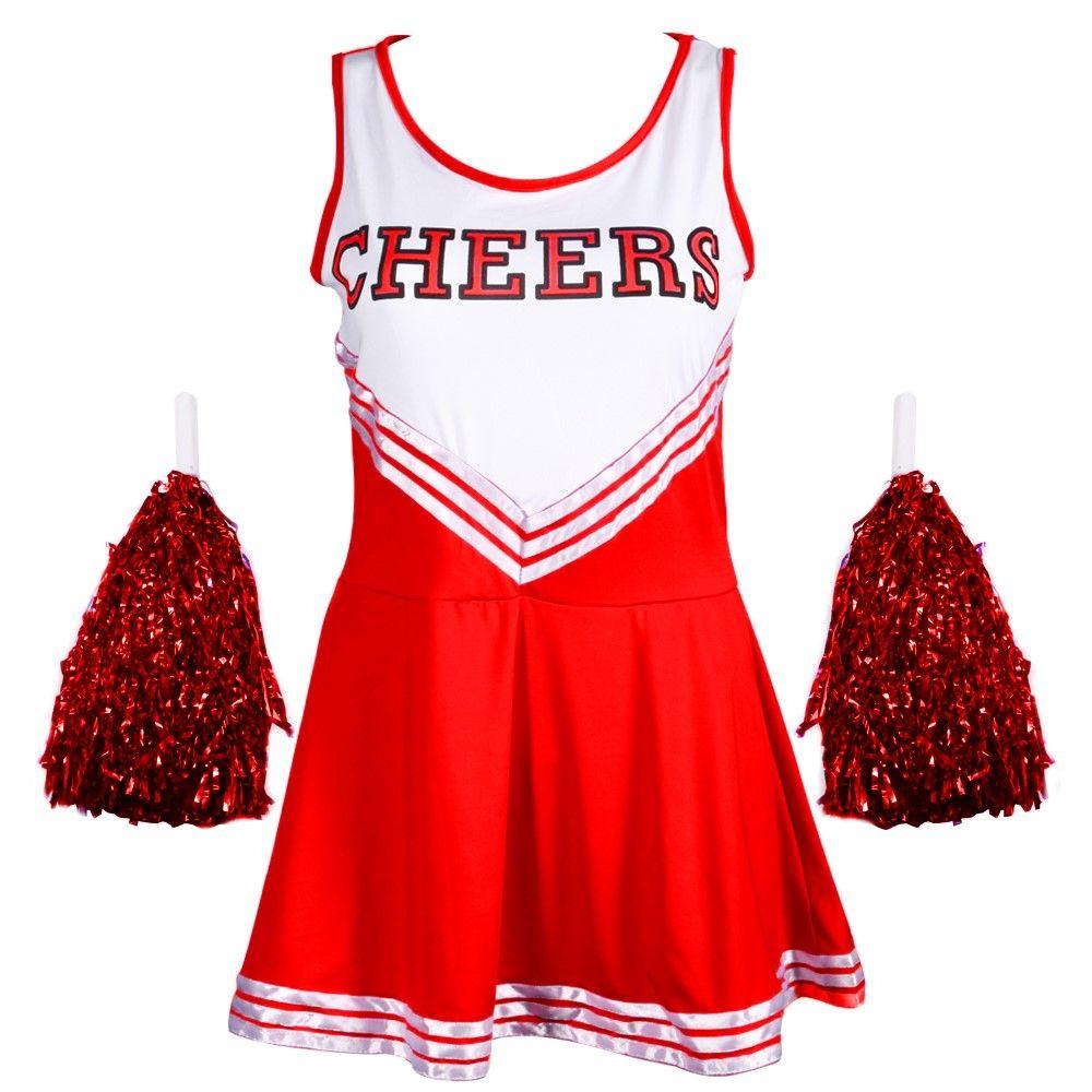 CHEERLEADER FANCY DRESS OUTFIT HIGH SCHOOL MUSICAL UNIFORM COSTUME + POM POMS  sc 1 st  Pinterest & Cheerleader fancy dress outfit high school musical uniform costume + ...