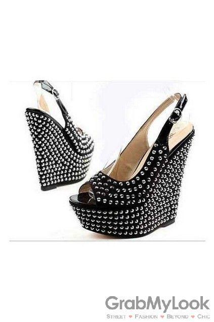 56e45ef2abf0 GrabMyLook Black Silver Spike Studs Punk Rock Suede Wedges Slingback Platforms  High Heels Open Toe Sandals Shoes