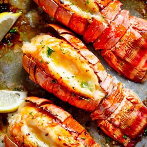 Broiled Lobster Tails with Honey Garlic Butter White Wine ...