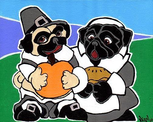FAWN /& BLACK PUG HALLOWEEN Signed Dog Pop Art PRINT of Original Painting by VERN