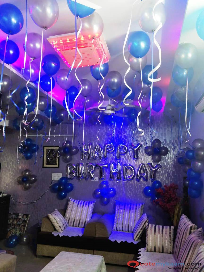Simple Birthday Decoration With Balloons And Ribbons Birthday Decorations At Home Simple Birthday Decorations 18th Birthday Decorations