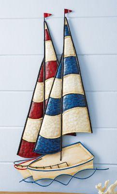Nautical metal sailboats wall decoration also theme backyard rh pinterest