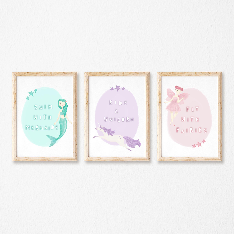 Girls Room Decor Unicorn Wall Art Prints - Unframed 8x10s Set of 3