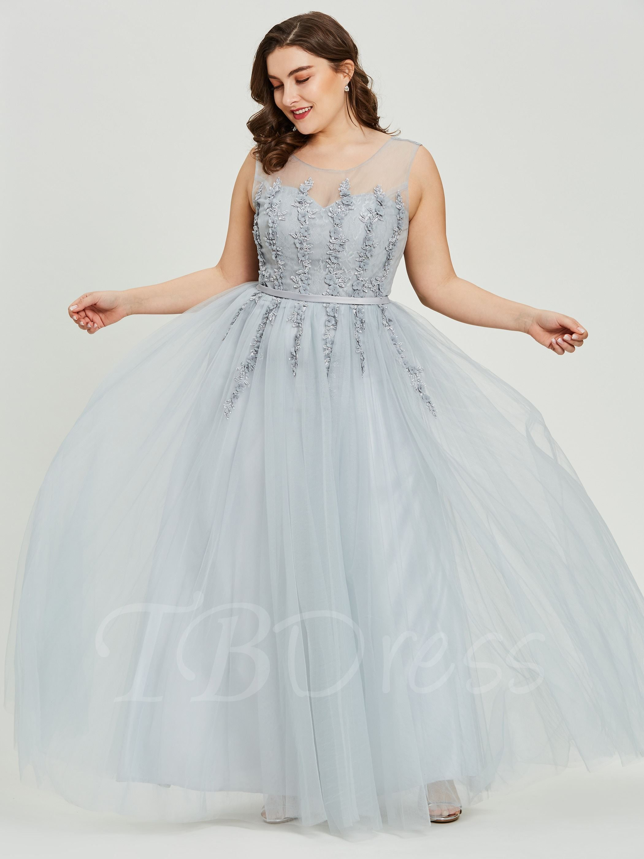 Scoop Beading A Line Plus Size Prom Dress Plus size prom