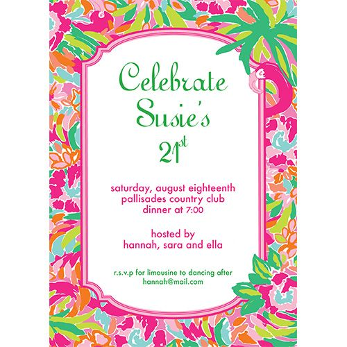 Lilly Pulitzer Party Invitations   Lilly Pulitzer Personalized Invitations Lulu Caroline S First