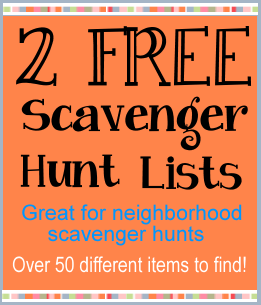 Scavenger hunt lists for teens