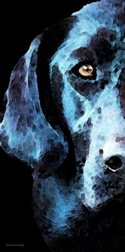Hunter - Black Lab Art By Sharon Cummings Art Print #blacklab #labradorretriever #dogs