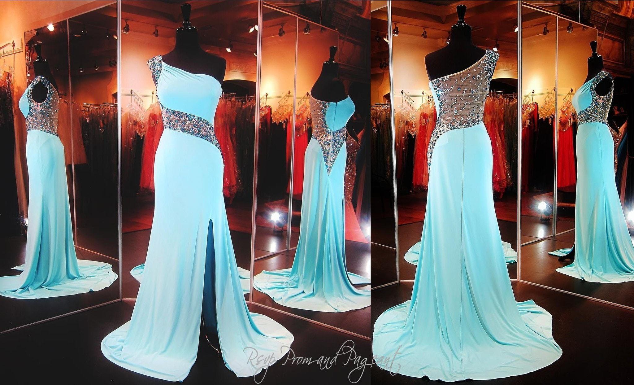 Aqua one shoulder fitted dress in prom pinterest vestido